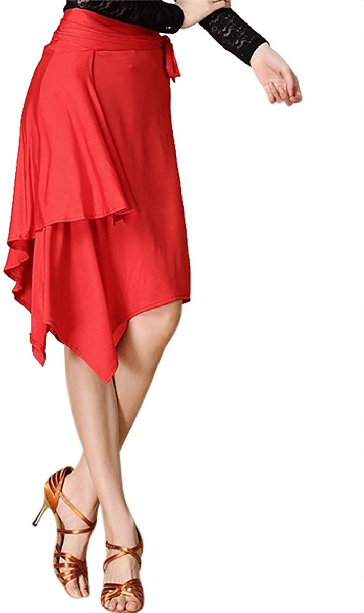 ZX Women's Latin Salsa Tango Dance Skirt Hip Scarf Smooth Swing Irregular Dancewear Ballroom Dance Dresses for Practice