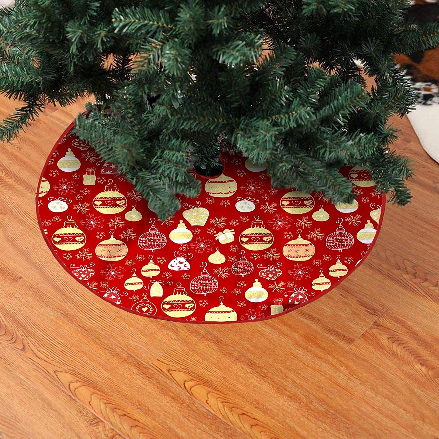 Somik Christmas Tree Skirt 48-inch Holiday Decorations Simple and Delicate Decoration