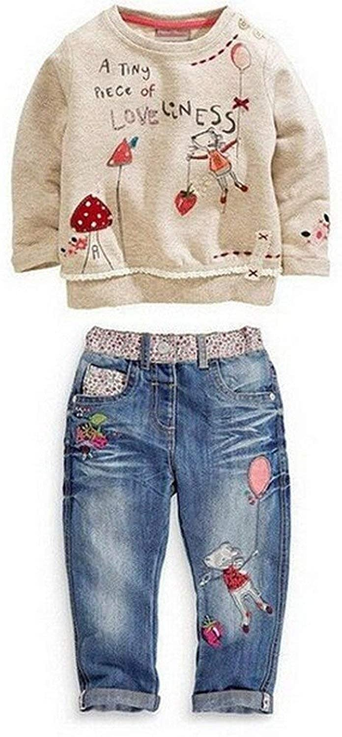 Baby World Baby Girl Long Sleeve Floral Top+Jean Pants Outfit Set