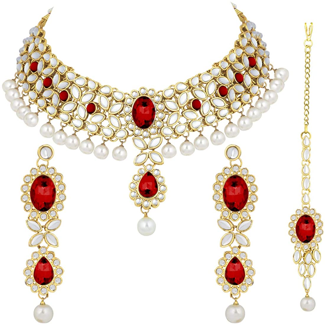 Aheli Indian Wedding Wear Beaded Faux Kundan Pearl Necklace Set with Maang Tikka Ethnic Fashion Jewelry for Women