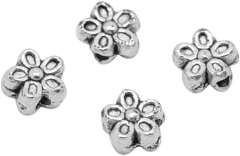 50pc Antique Silver Flower Beads 7mm Beading Supplies