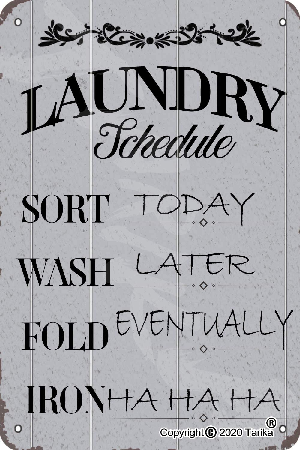 LaundrySchedule Tin Retro Look 20X30 cm Decoration Painting Sign for Home Kitchen Bathroom Farm Garden Garage Inspirational Quotes Wall Decor
