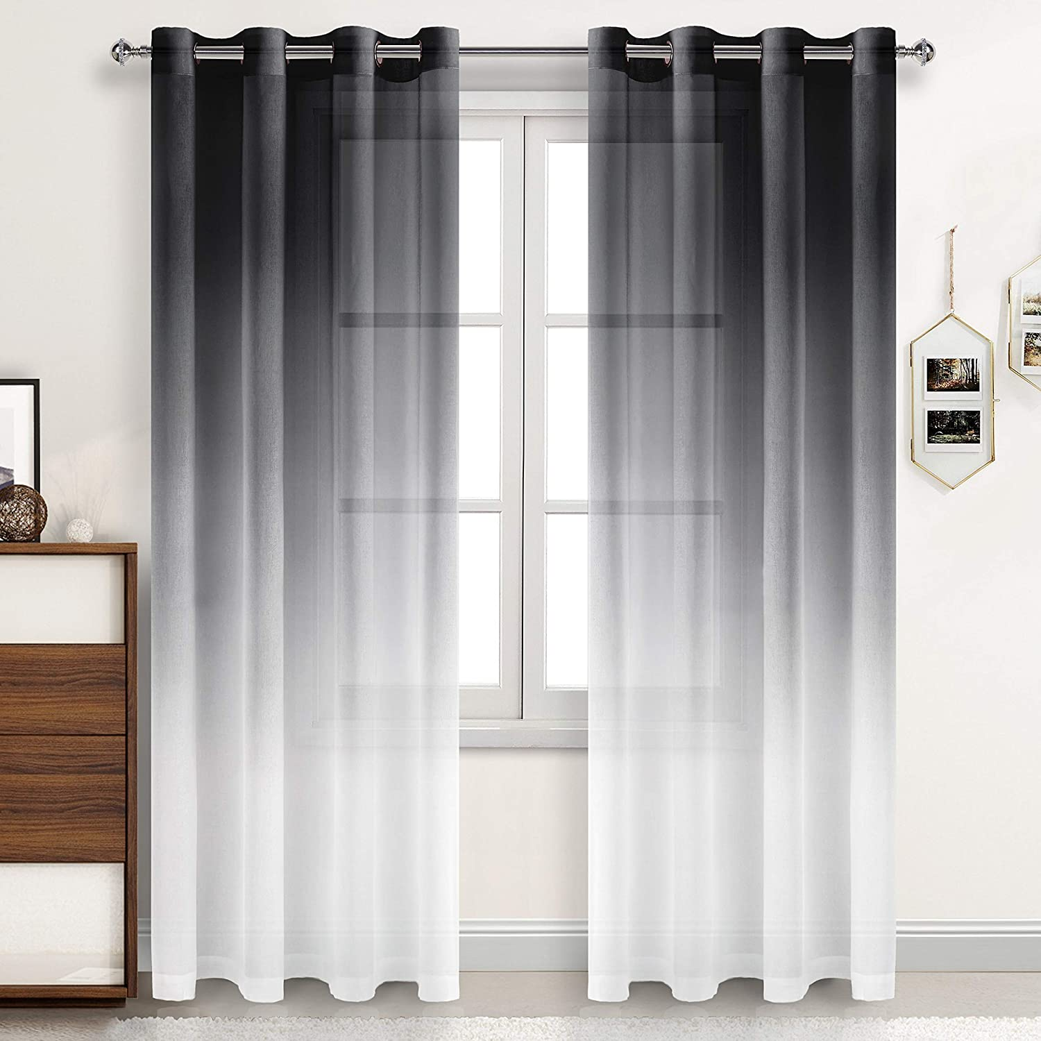 DWCN Ombre Sheer Curtains - Faux Linen Semi Voile Grommet Top Curtains for Bedroom and Living Room, Set of 2 Gradient Window Curtain Panels, 52 x 96 Inches Long, Black