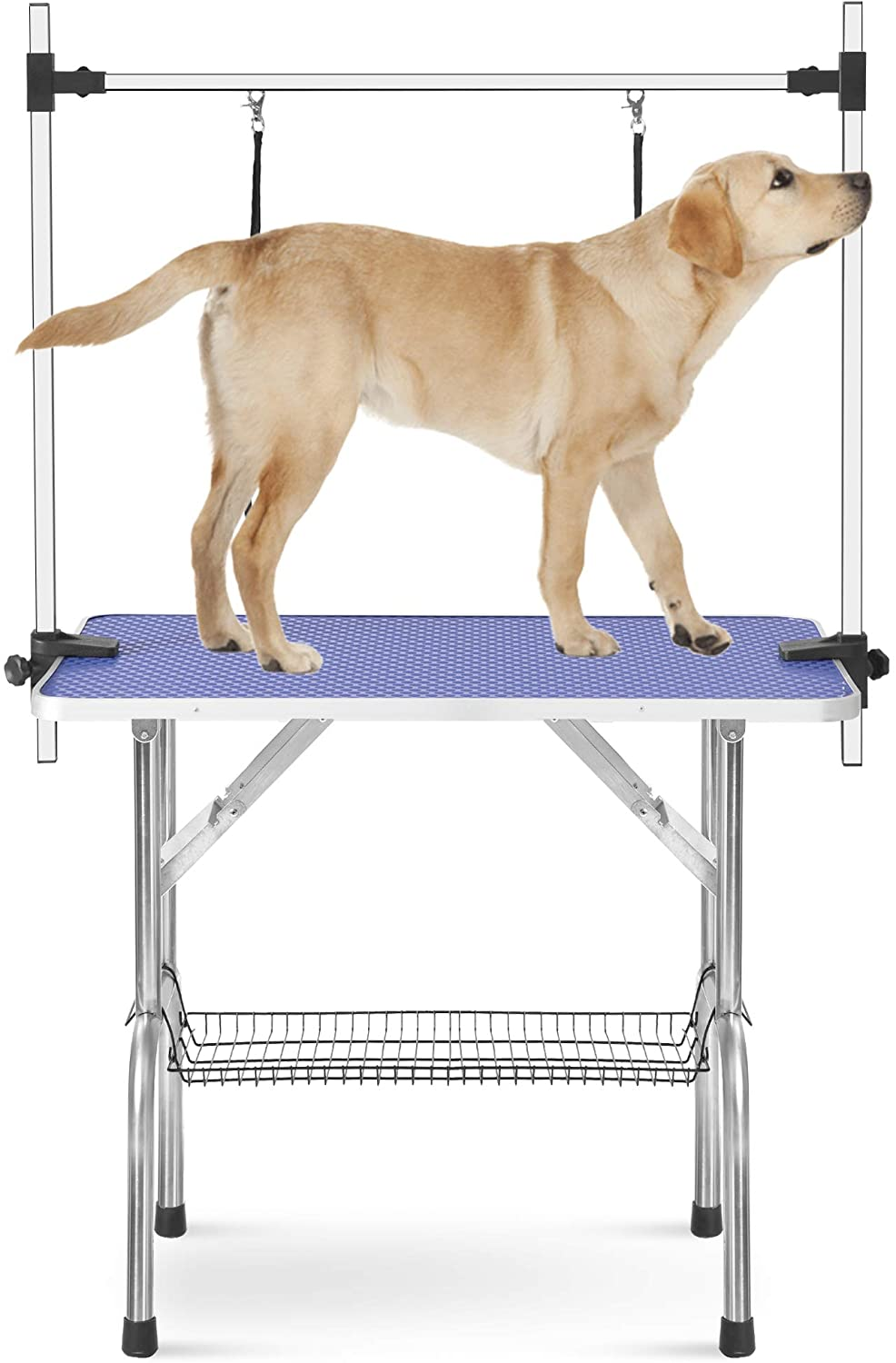 Rhomtree Professional Adjustable Pet Grooming Table Heavy Duty with Arm & Nosse & Mesh Tray for Large Dog Cat Shower Table Bath Station, Maximum Capacity Up to 330 LBS