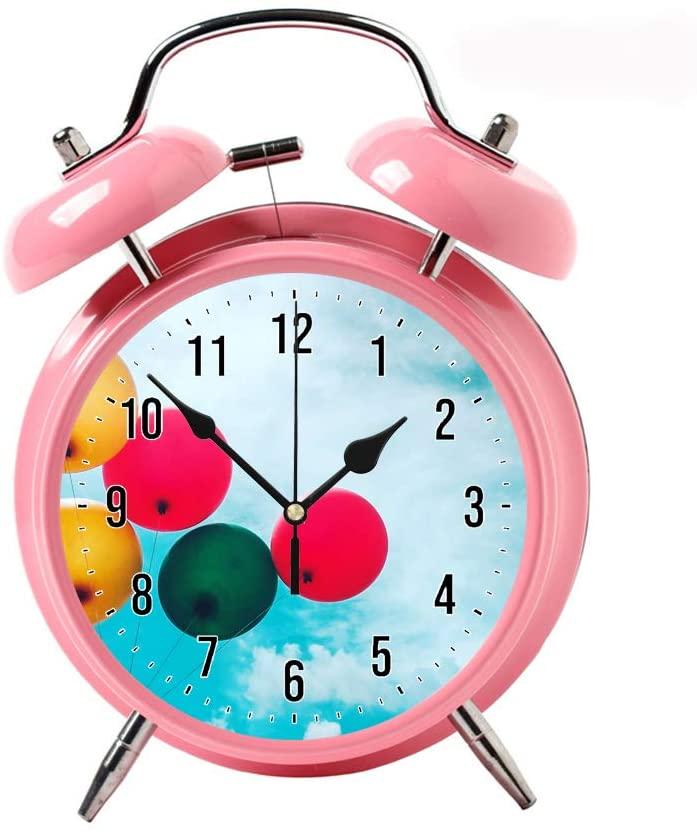COPUEA Creative Child Retro Alarm Clock Twin Bell Alarm Clock Backlight Desk Clock Pink Alarm Clock GiftFive Assorted Balloons
