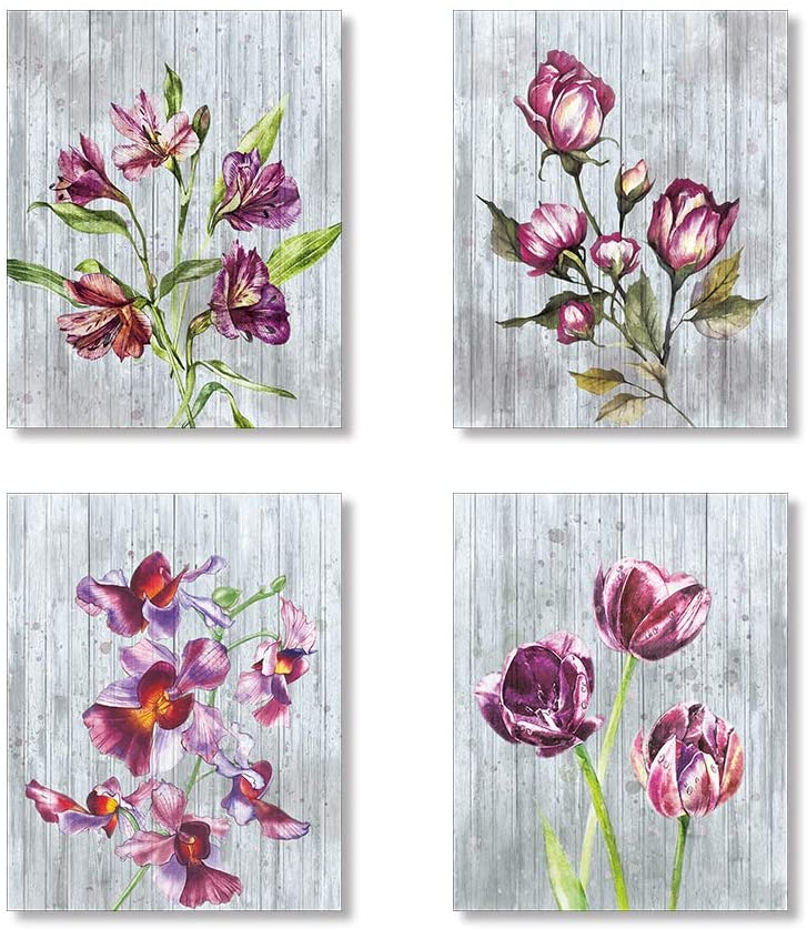 Purple Blossom on The Wooden Background Art Prints Botanical Wall Art Set of 4 Unframed 8x10 inches