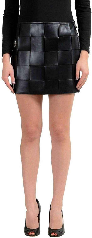 Versace Versus Women's 100% Leather Black Mini Skirt US 4 IT 40