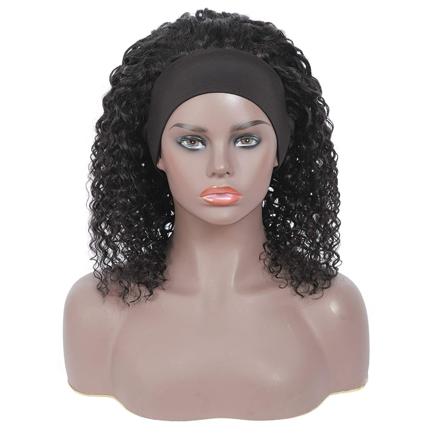 Headband Wig Kinky Curly Wigs for Black Women None Lace Front Curly Wigs with Headband Human Hair Mixed 150% Density Machine Made Wave Natural Color 14 inch
