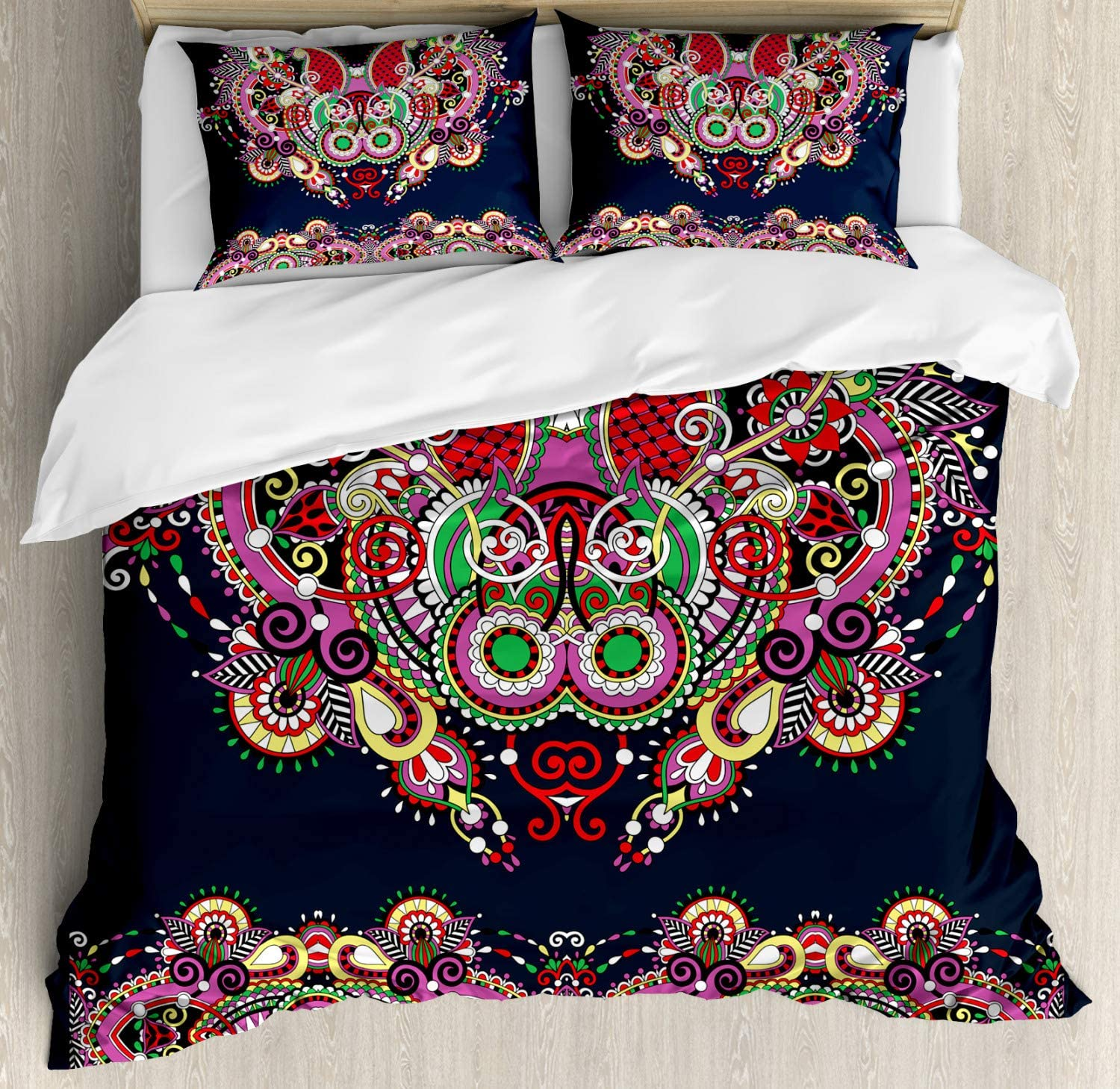 Ambesonne Ethnic Duvet Cover Set, Ukrainian Fashioned Ornamental Paisley Design with Unique Features Motif, Decorative 3 Piece Bedding Set with 2 Pillow Shams, King Size, Grey Violet