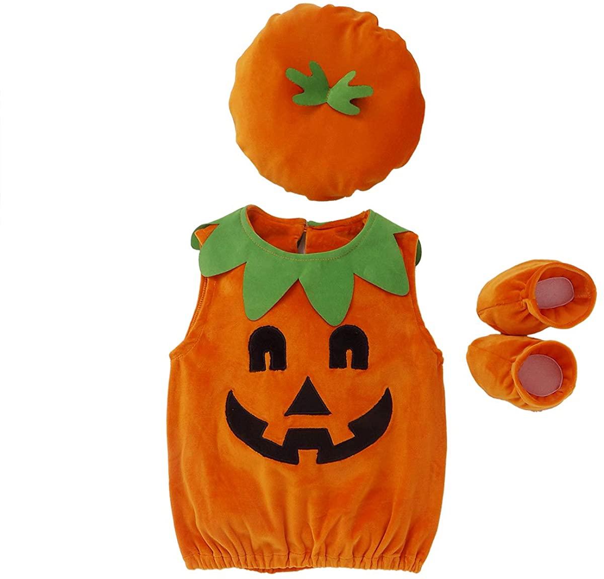 Cosplay Halloween Baby Kids Pumpkin Suit Tops+Hat+Shoes Clothes Costumes