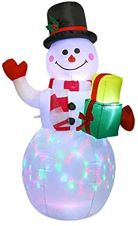 OonlyoO Christmas Inflatables Blow Up Snowman Yard Decorations with Rotating LED Lights for Indoor Outdoor Yard Garden Decorations