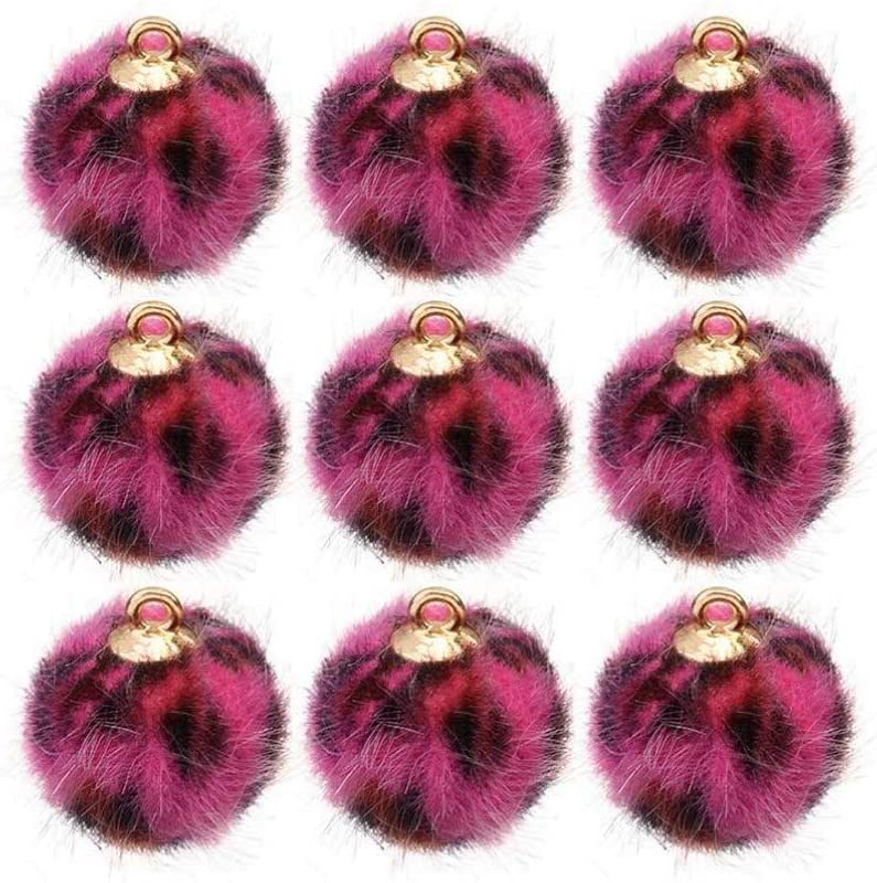 Healifty 24pcs Faux Pom Pom Balls DIY Faux Fur Leopard Pom Pom Charms with Loop for Hats Keychains Earring Scarves Gloves Bags Accessories 15mm (Rosy)