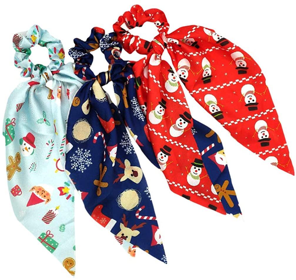 KESYOO 3pcs Chrismtas Hair Scarf Scrunchies Hair Scarf Ponytail Holders Bowknot Hair Ties for Women Girls