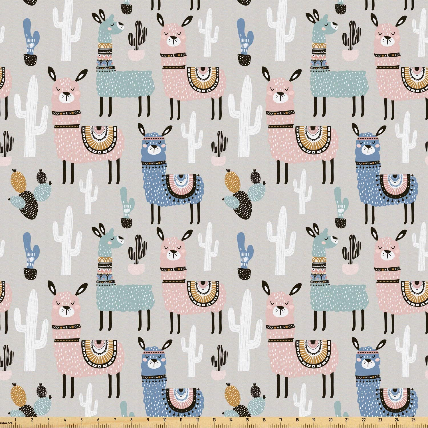 Ambesonne Hipster Fabric by The Yard, Llama Guanaco South American Animals Childish Hand Drawn Style Cartoon Art Print, Microfiber Fabric for Arts and Crafts Textiles & Decor, Multicolor