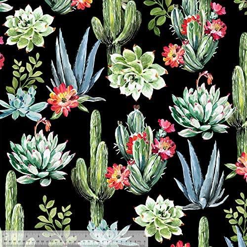 Desert Succulents Anti-Pill Fleece Fabric by The Yard