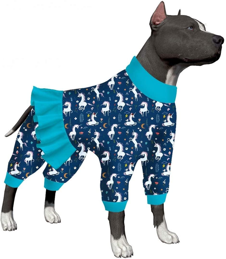 LovinPet Large Dog Clothes/Unicorn Dog Shirt Post Surgery Wear/Mermaids & Unicorns Unicorns Blue/White Prints/Lightweight Pullover Large Puppy Pajamas/Full Coverage Dog Pjs
