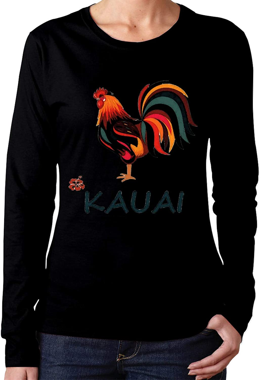 HIPGCC Kauai Wild Rooster Long Sleeve Shirts for Women Classic Black t Shirt