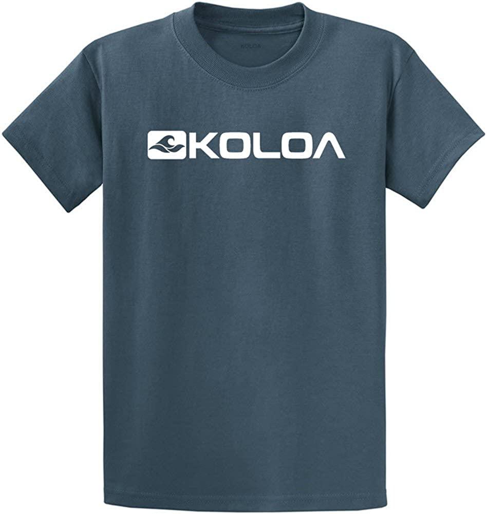 Joe's USA Koloa Surf Tall Side Logo Heavy Cotton T-Shirt-SteelBlue/w-4XLT