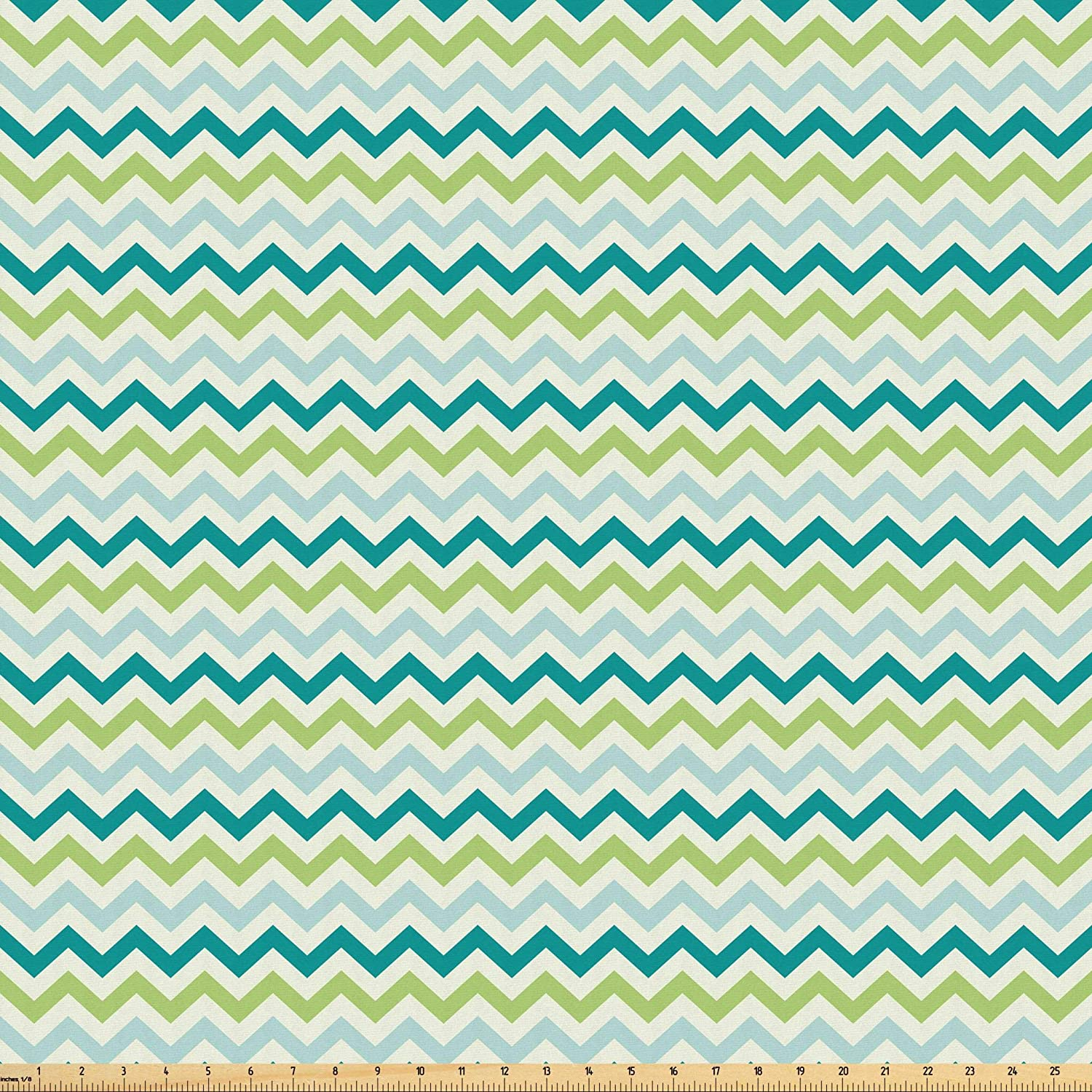 Lunarable Chevron Fabric by The Yard, Chevron Pattern in Cool Pastel Color Palette Creativity Springtime, Microfiber Fabric for Arts and Crafts Textiles & Decor, 1 Yard, Lime Green