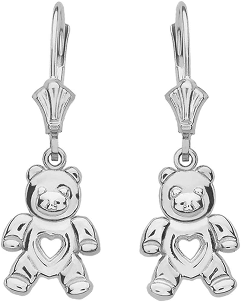 925 Sterling Silver Love Teddy Bear Dangle Earrings