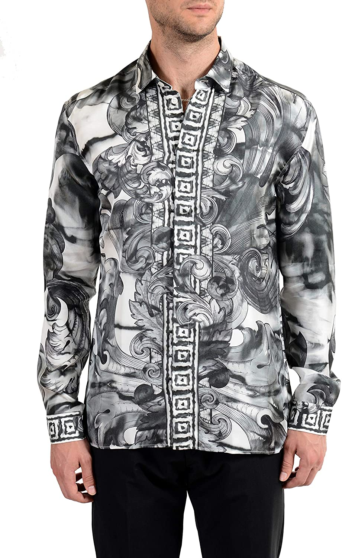 Versace Collection Trend Men's 100% Silk Graphic Long Sleeve Dress Shirt Sz US 17.5 IT 44