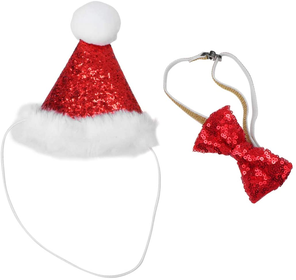 POPETPOP Cat Santa Hat Costume - Adorable Cat Dog Christmas Santa Hat and Bow Tie Collar for Cats Kitten Puppy Small Pets Xmas