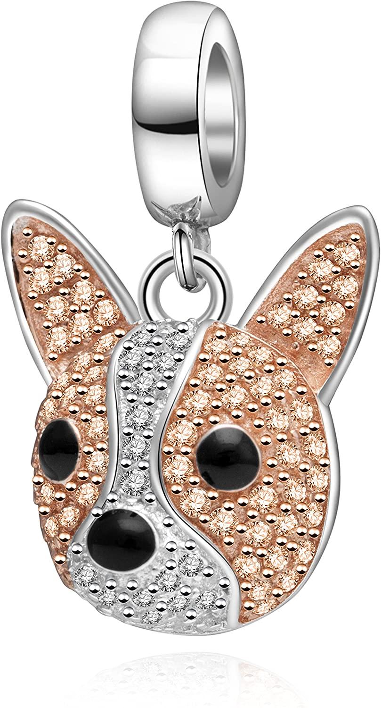 Hoobeads Happy Family Animal Panda Crystal Charms 925 Sterling Silver Puppy Dog Pendants Lovely Koala Bear Pets Bead
