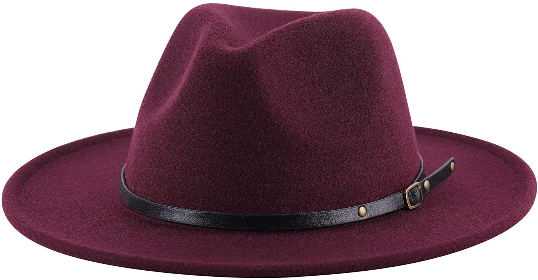 Jastore Kids Girls Boys Classic Wide Brim Bowknot Floppy Fedora Hat Wool Felt Bowler Cap