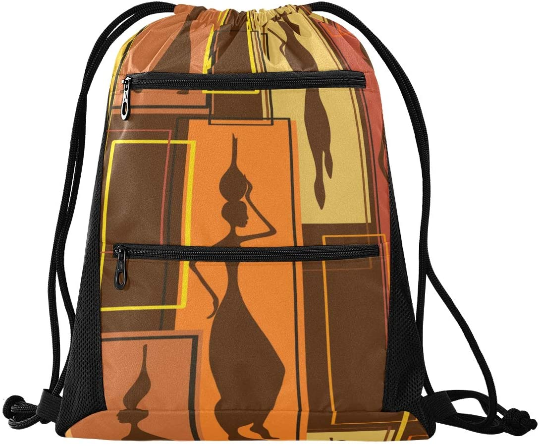 Abstract Pattern Of African Women Drawstring Bag Lightweight Sackpack Hiking Daypacks Casual Daypacks Sport Beach Daypack for Women Girl Men kids