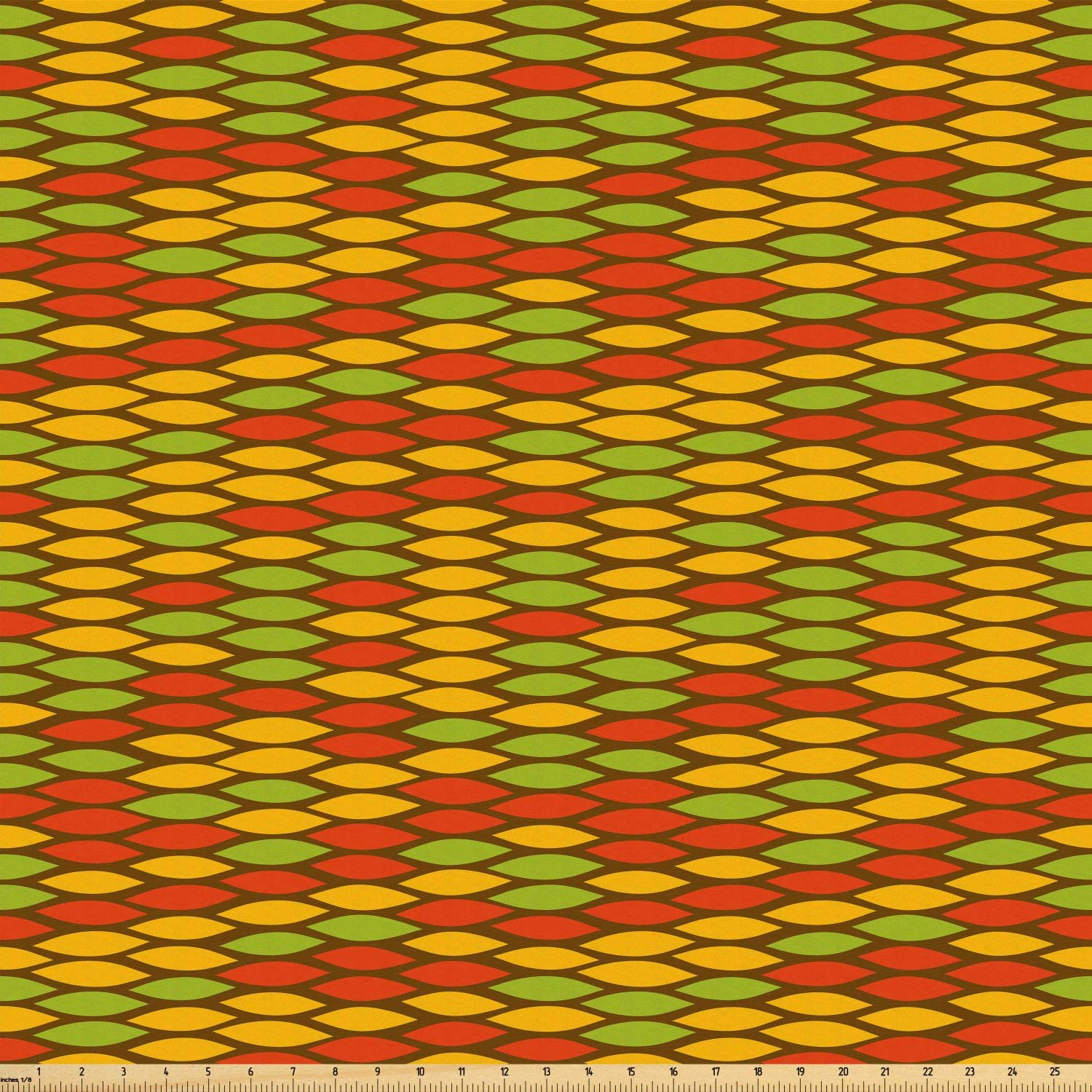 Ambesonne Colorful Fabric by The Yard, Rastafarian Snake Skin Pattern Scale Design in Simplistic Style with Ogee Shapes, Microfiber Fabric for Arts and Crafts Textiles & Decor, Multicolor