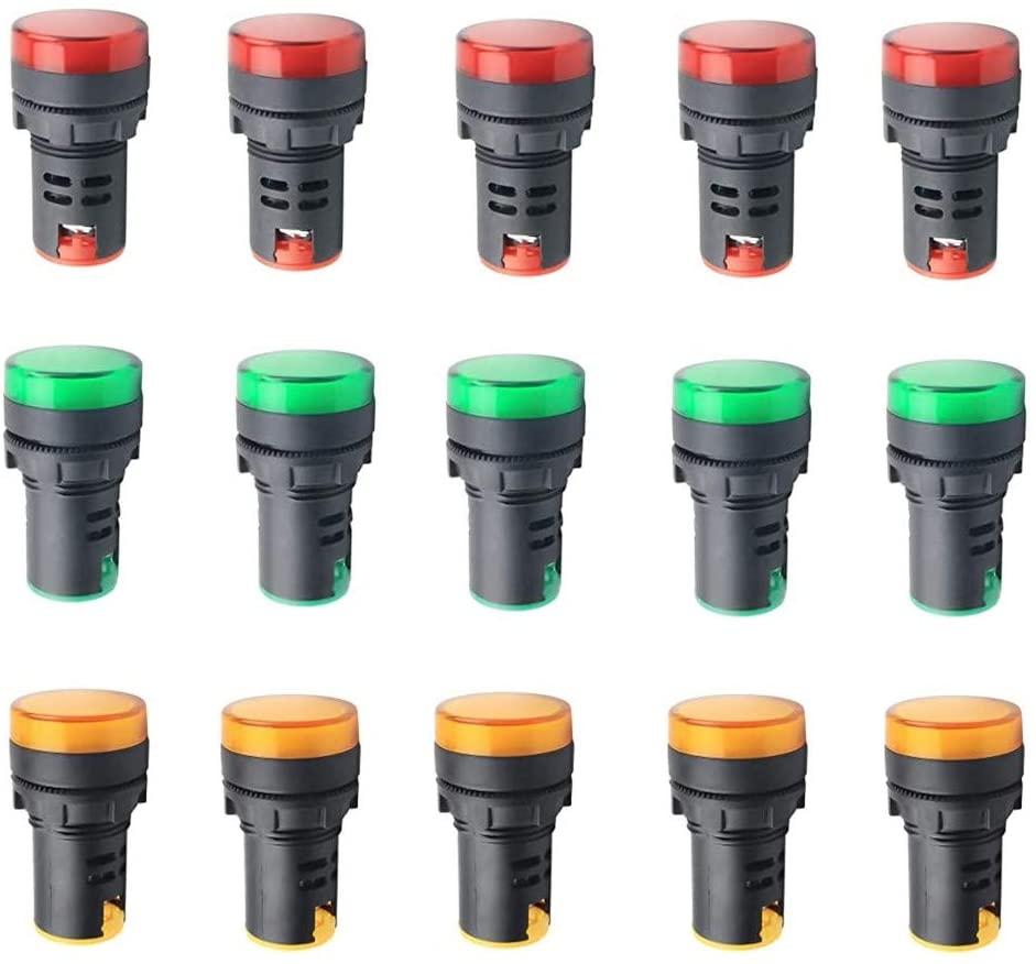 24V 20mA Energy Saving LED Indicator Light Mounting Hole Size 22mm (7/8 Inch) Red Green Yellow 15Pcs