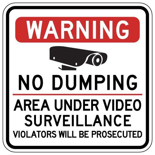 STOPSignsAndMore - Warning No Dumping Area Under Video Surveillance Sign - 18x18