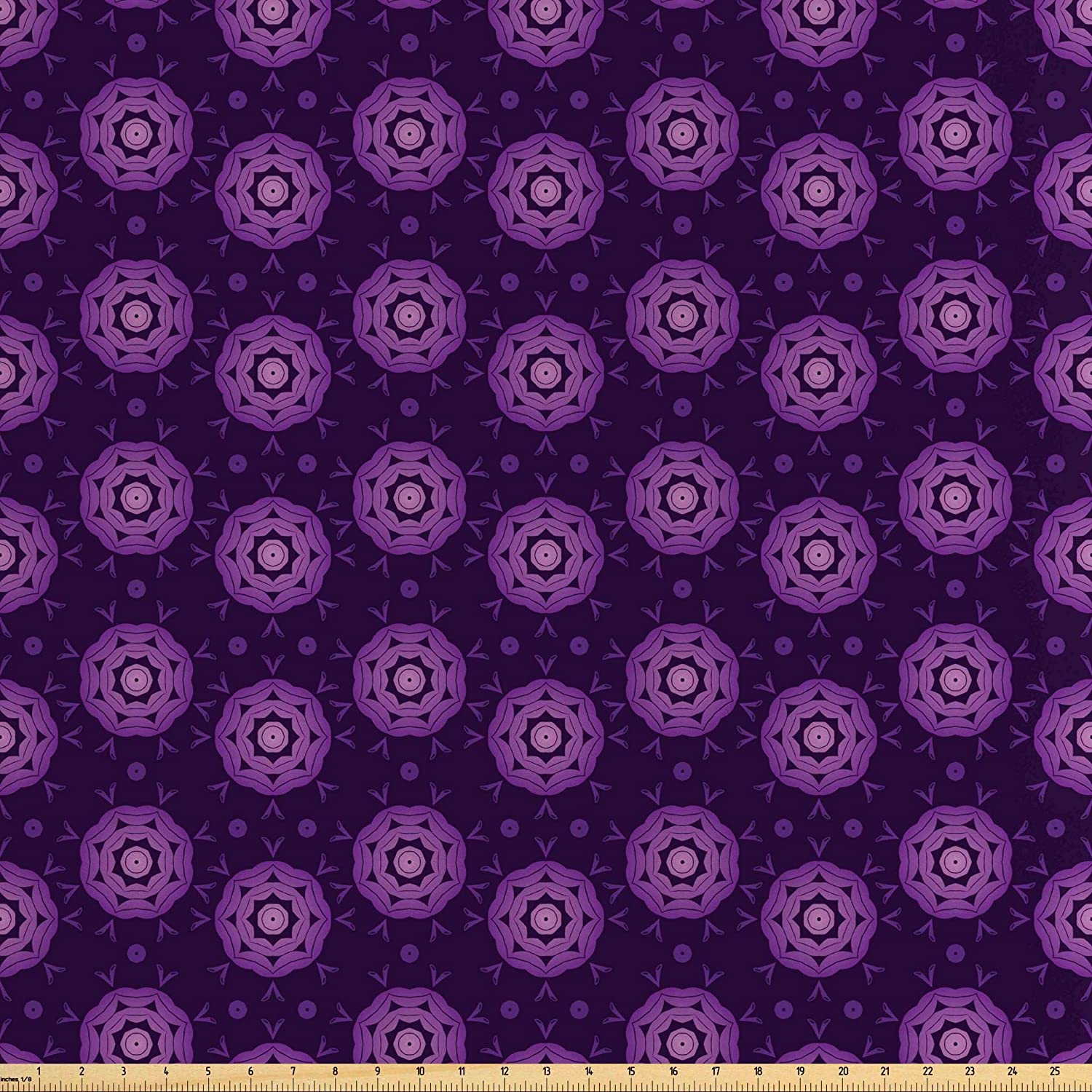 Lunarable Floral Fabric by The Yard, Mandala Style Arrangement with Arrows and Dots South Ornamental Design, Decorative Satin Fabric for Home Textiles and Crafts, 10 Yards, Purple Dark Purple