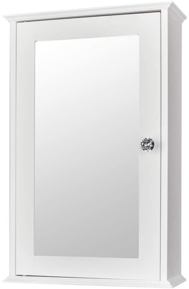 SSLine Bathroom Vanity Mirror Wall Cabinet with Storage Shelves White Wooden Mounted Medicine Cabinet with Single Door Hanging Wall Mirror w/Hidden Storage Cupboard for Bathroom Bedroom Vestibule
