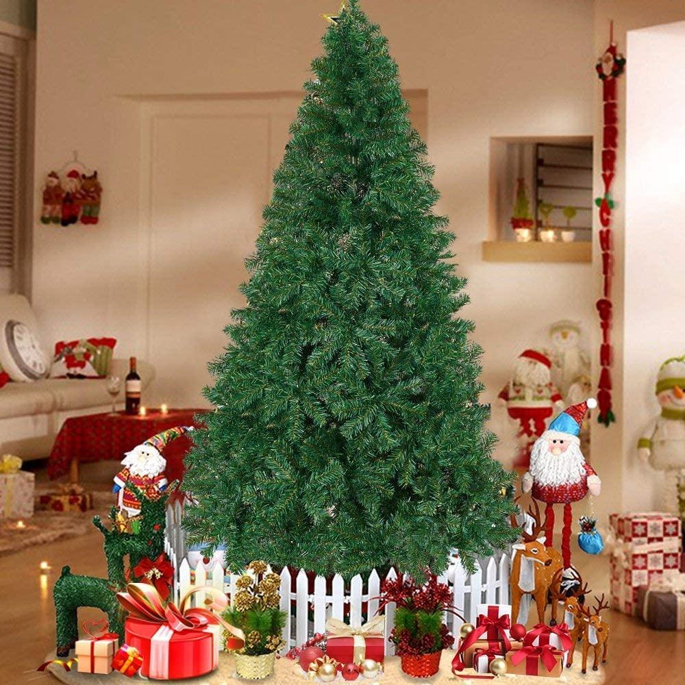 U-miss 7.5ft Eco-Friendly Aspen Fir Christmas Tree, 1450 Tips, Easy Assembly, Green