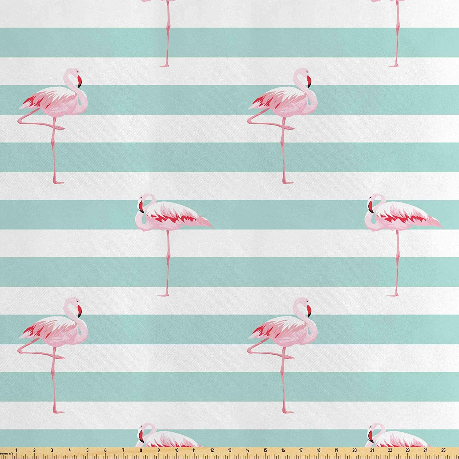 Lunarable Modern Fabric by The Yard, Pink Flamingo Birds on Horizontal Striped Bands Background Love Tropical Graphic, Decorative Satin Fabric for Home Textiles and Crafts, 5 Yards, Seafoam White