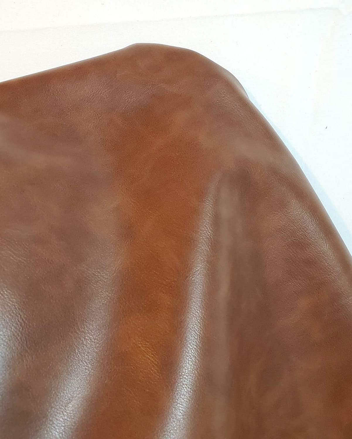 NAT Leathers | Mid Brown Soft Faux Vegan Leather PU {Peta Approved Vegan} | 5 yards (180 inch Length x 54 inch wide) cut by the yard | Synthetic Pleather 0.9mm Smooth Nappa Vinyl Upholstery | 180