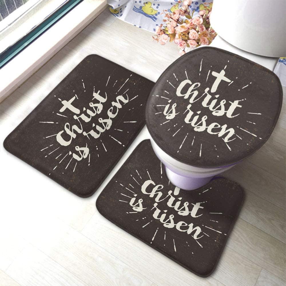 HOSNYE Christ is Risen 3 Pieces Bathroom Rug Set Easter Evangelism Religion Text Non-Slip Bath Mats U-Shaped Contour Rug Floor Mat and Toilet Lid Cover