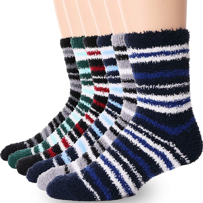 Men Boys Fuzzy Socks Soft Warm Fluffy Cute Cozy Winter Slipper Christmas Socks