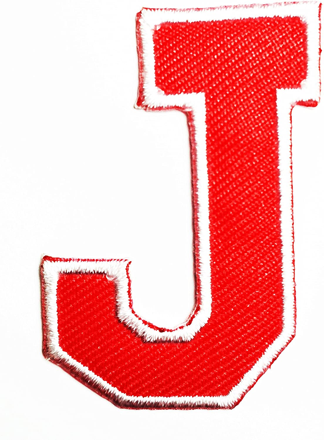 HHO Red letter J Patch English Alphabet Character Embroidered DIY Patches, Cute Applique Sew Iron on Kids Craft Patch for Bags Jackets Jeans Clothes