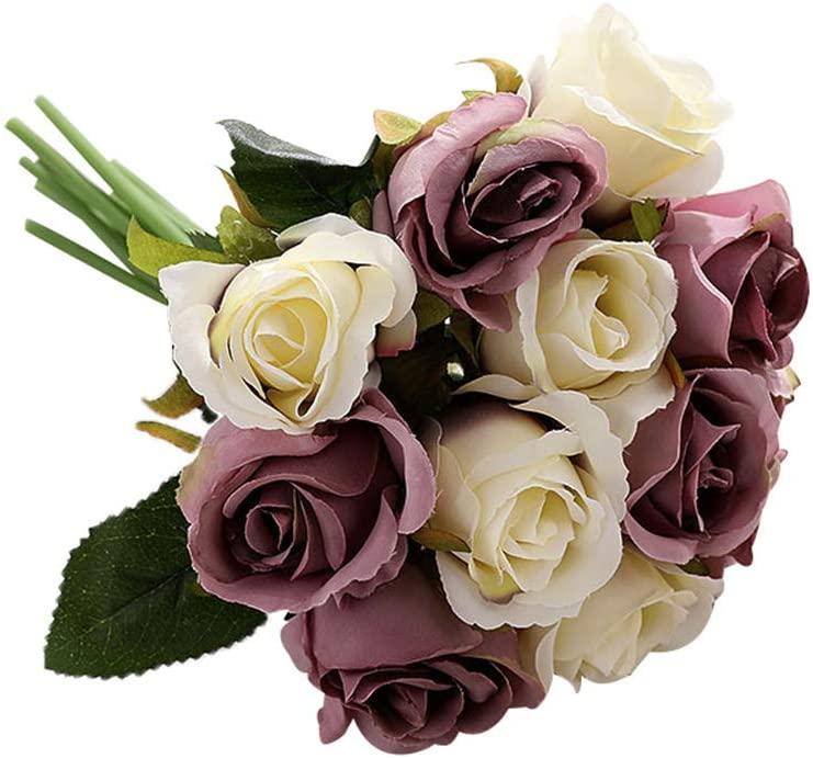 oAtm0eBcl Artificial Rose Flower, 12 Head/1 Bouquet Silk Cloth & Plastic Fake Rose Flower Bonsai for Stage Garden Wedding Home Party Decor, Bridal Bouquet White+Purple