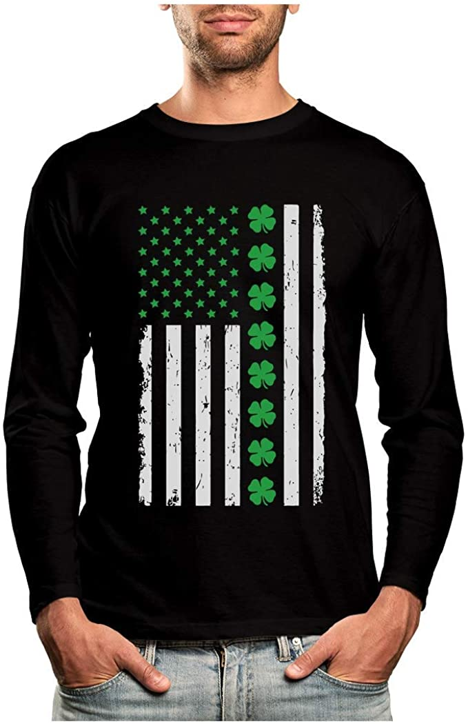St. Patrick's Day Big Irish American Flag with Clovers Long Sleeve T-Shirt