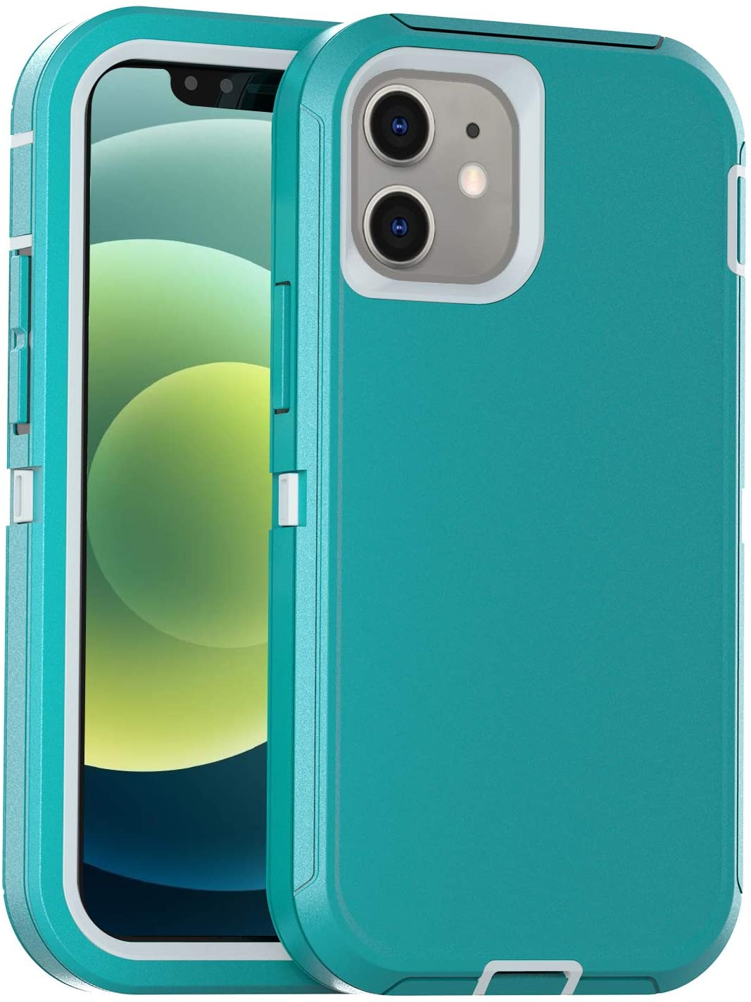 FOGEEK Case Compatible with iPhone 12/12 Pro, Heavy Duty Protective Case, Drop Protection Rugged Case [Shockproof] Compatible with 12/12 Pro 2020 [6.1 inch] (Aqua/White)