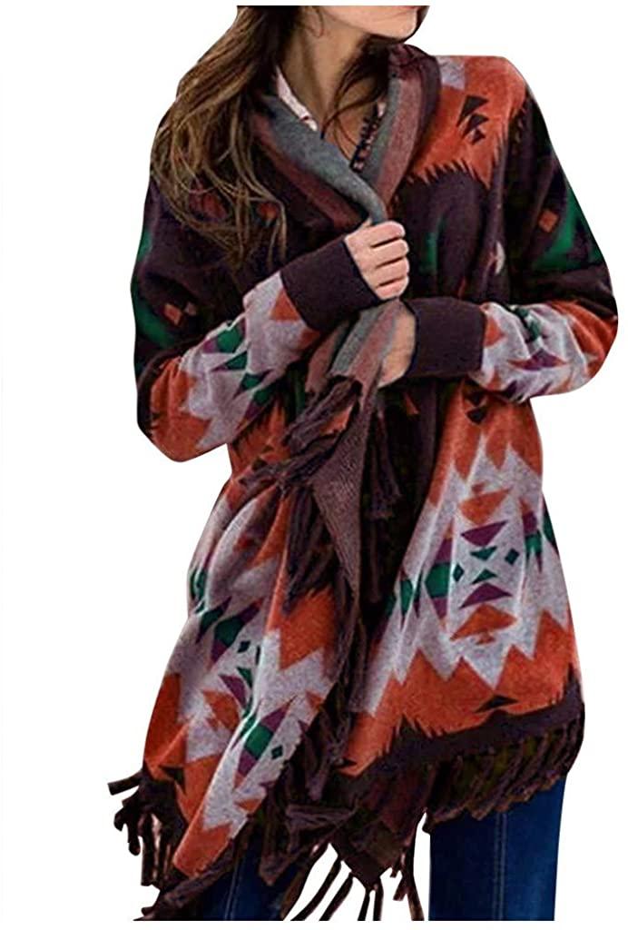Yunmic Plus Size Women Geometric Print Tassel Long Sleeve Blouse Tops Cardigan Sweater Coat