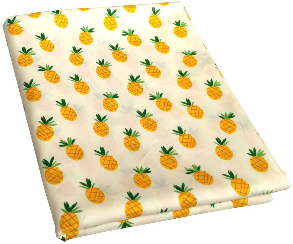 Qililandiy 100% Cotton Pineapple Print Cotton Fabric Quilting Fat Quarter Bundles Patchwork Fabric for Sewing DIY Crafts (1.09 Yard x 1.72Yard)