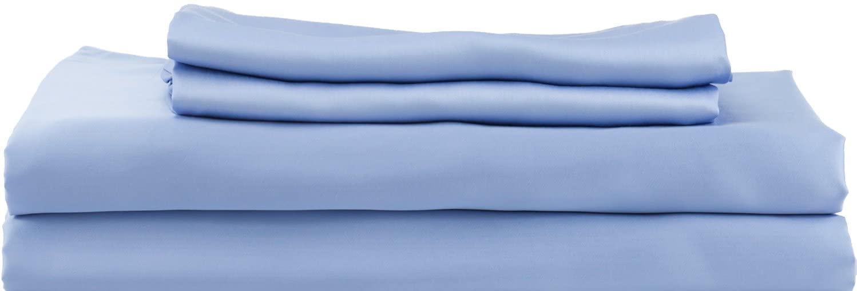 Hotel Sheets Direct 100% Bamboo Duvet Cover 3 Piece Set - Better Than Silk - 1 Duvet Cover, 2 Pillow Shams with Corner Ties and Zipper Closure (Queen, Light Blue)