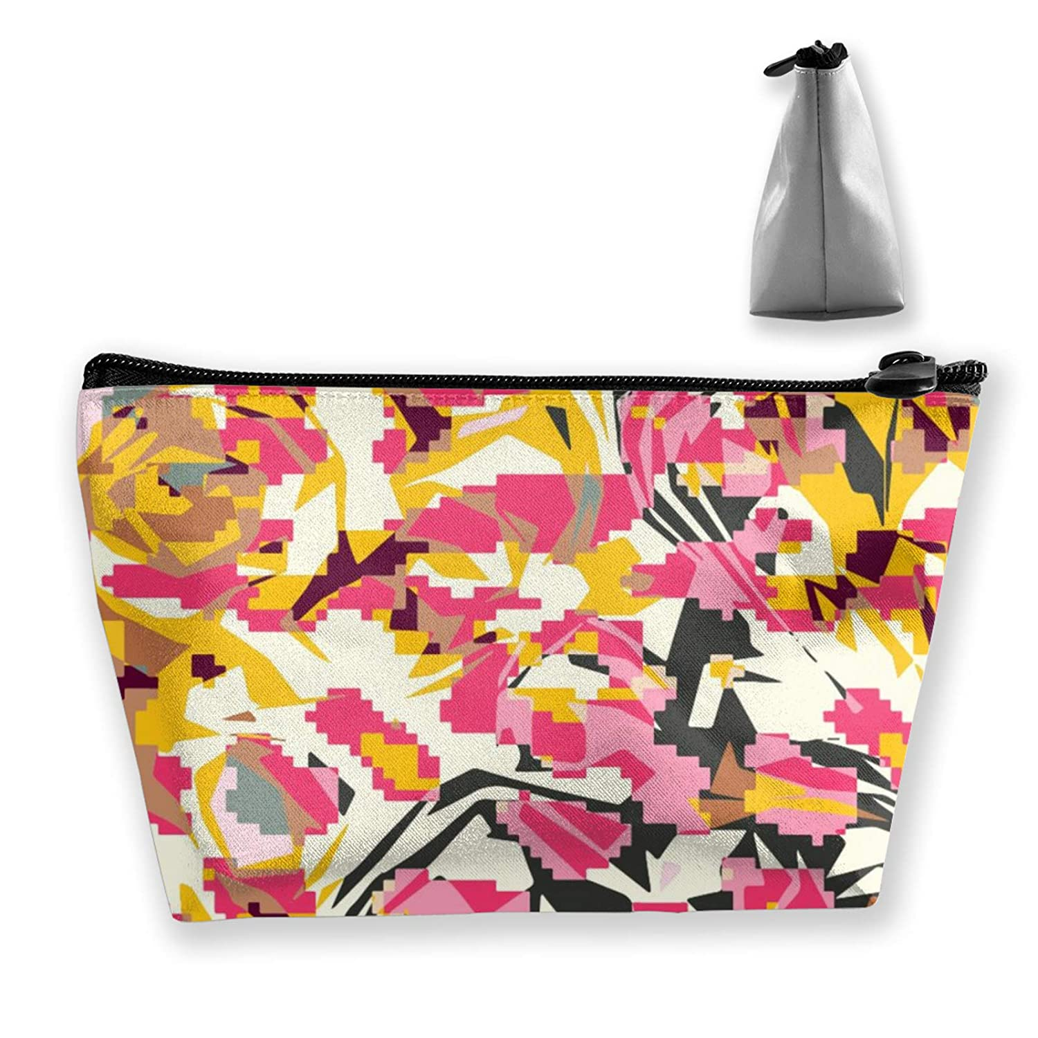 Women Girls Abstract Art Painting Colorful Flower Floral Make Up Bag Pouch For Makeup Brushes Jewelry Travel Large Capacity Travel Makeup Train Case Multi-Purpose Clutch Bag Luggage Pouch