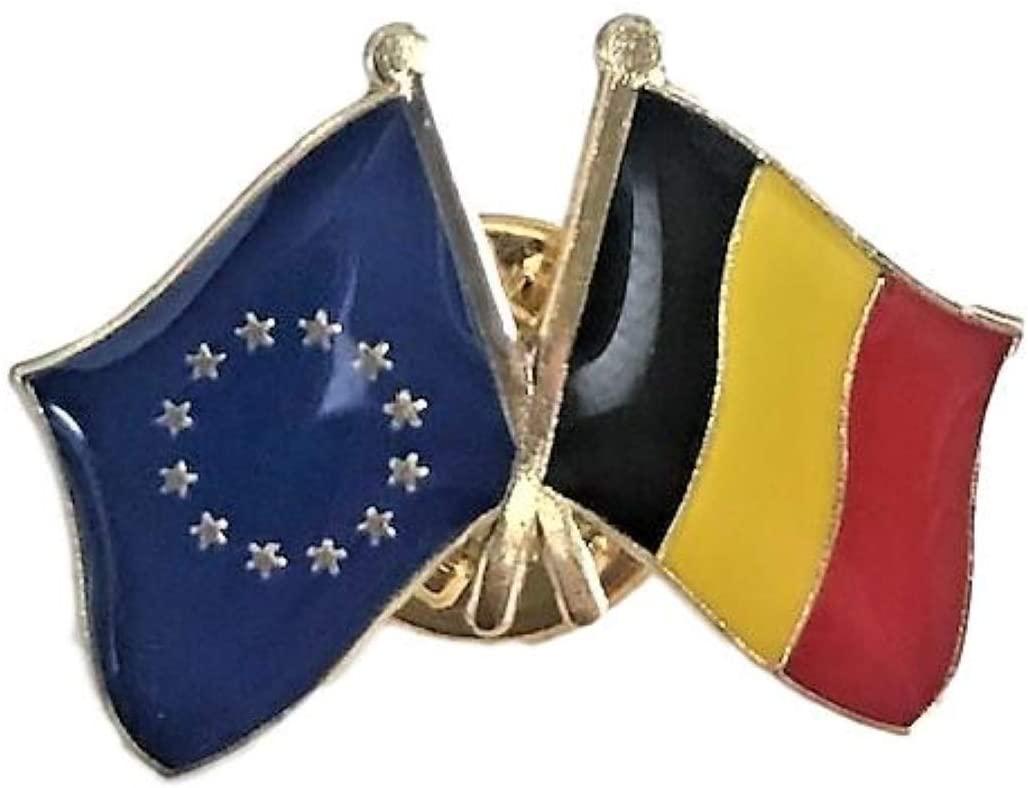 Backwoods Barnaby European Union - Belgium Crossed Friendship Flags Lapel Pin