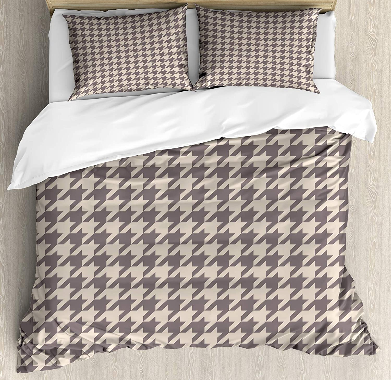 Lunarable Vintage Duvet Cover Set, Traditional Scottish Houndstooth Pattern in Pastel Colors Tartan Plaid Retro, Decorative 3 Piece Bedding Set with 2 Pillow Shams, King Size, Brown Umber
