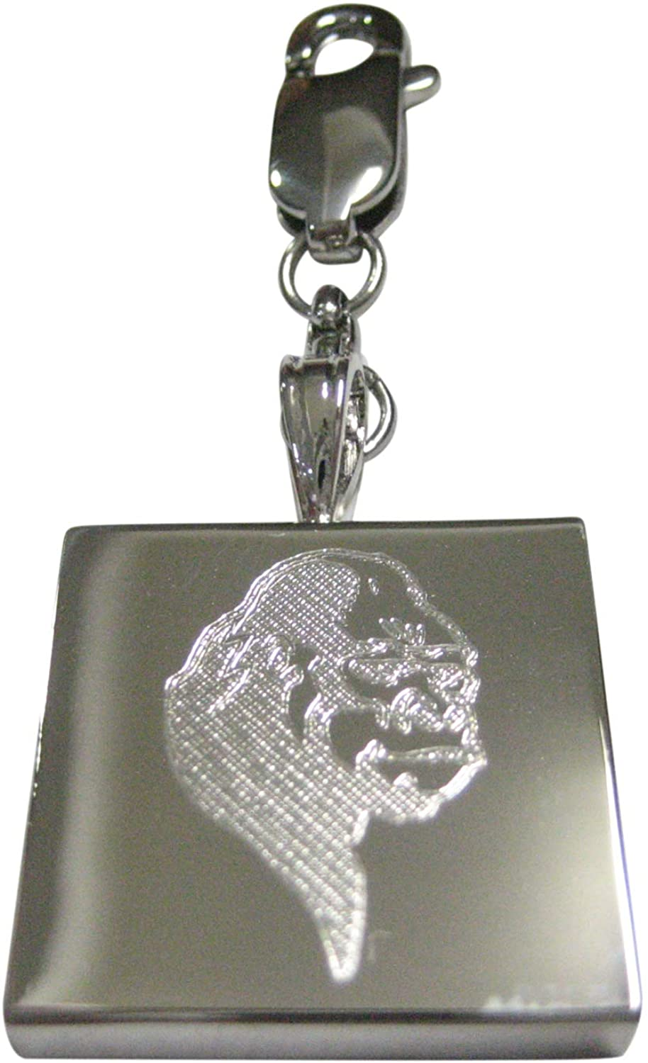 Kiola Designs Silver Toned Etched Gorilla Head Pendant Zipper Pull Charm